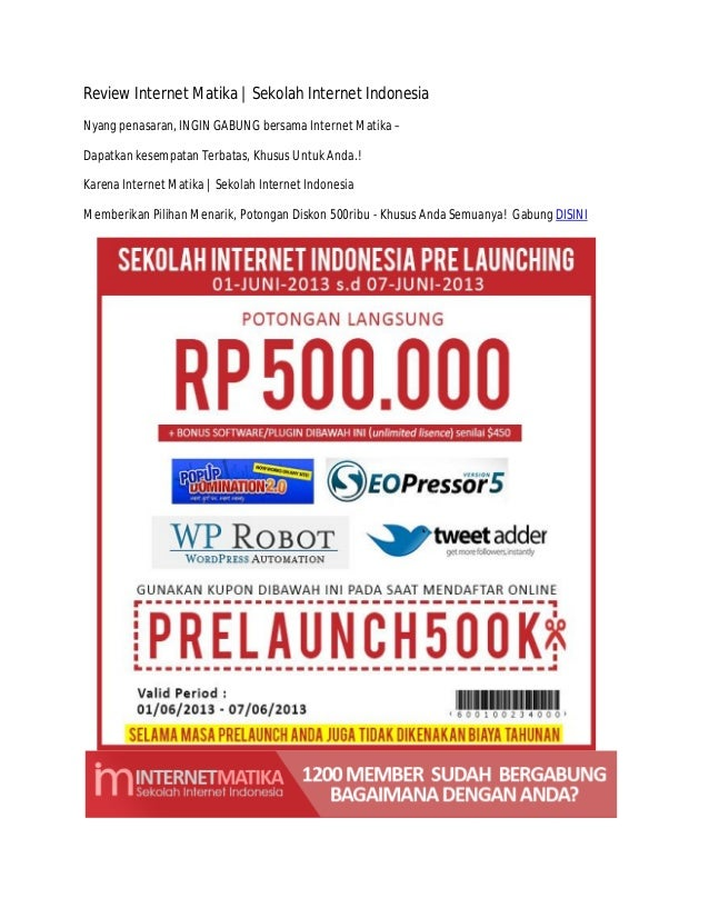 Review Internet Matika   Sekolah Internet IndonesiaNyang penasaran, INGIN GABUNG bersama Internet Matika –Dapatkan kesempa...