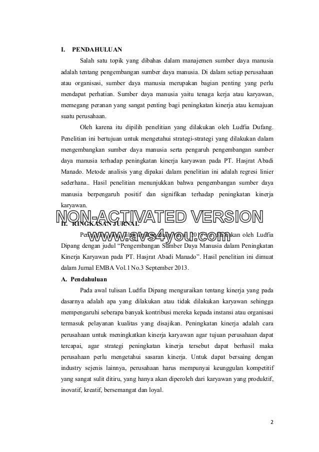 Contoh Jurnal Organisasi Ndang Kerjo
