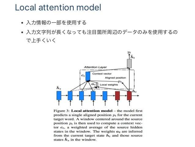 Local attention model 入力情報の一部を使用する 入力文字列が長くなっても注目箇所周辺のデータのみを使用するの で上手くいく
