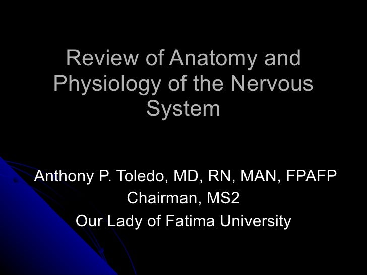 Review of Anatomy and Physiology of the Nervous System Anthony P. Toledo, MD, RN, MAN, FPAFP Chairman, MS2 Our Lady of Fat...