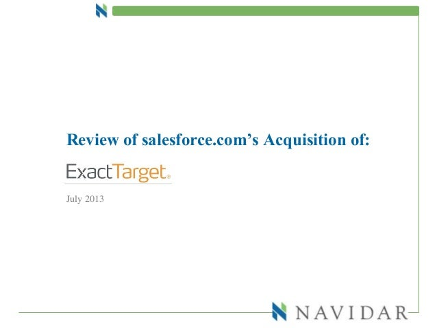Review of salesforce.com's Acquisition of: July 2013