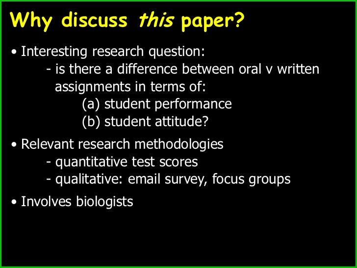 Oral versus written assessments Slide 2