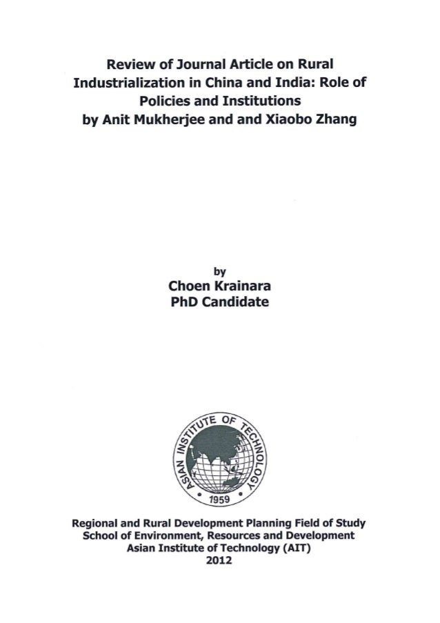 Review of Journal Article on Rural Industrialization in China and India: Role of Policies and Institutions