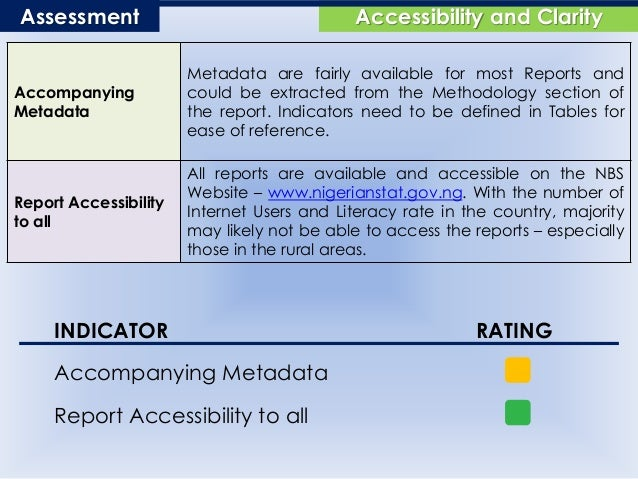 Accessibility and ClarityAssessment Accompanying Metadata Metadata are fairly available for most Reports and could be extr...