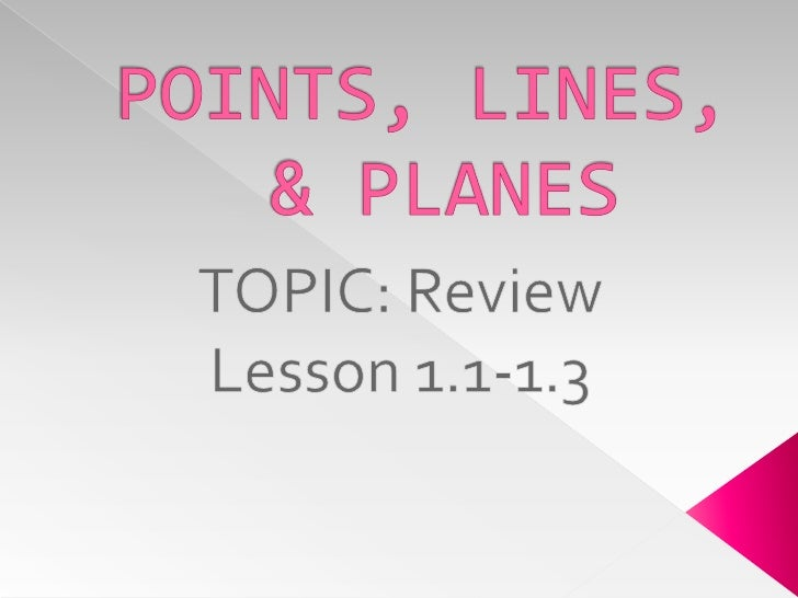 POINTS, LINES, & PLANES<br />TOPIC: Review<br />Lesson 1.1-1.3<br />