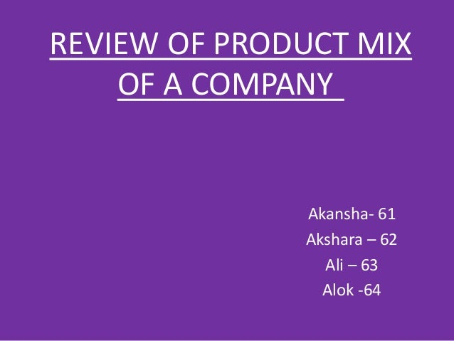 Product Mix Of Cadbury