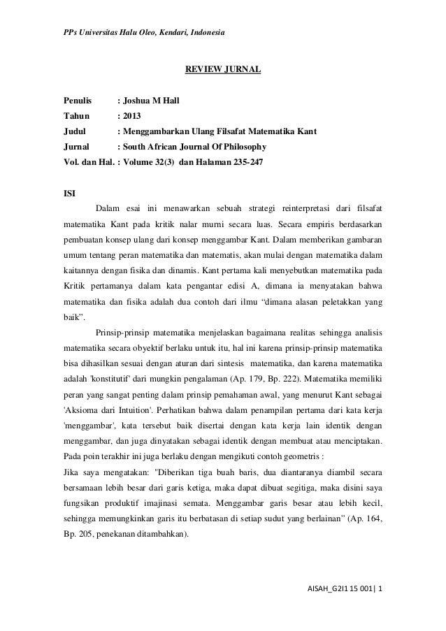 PPs Universitas Halu Oleo, Kendari, Indonesia AISAH_G2I1 15 001| 1 REVIEW JURNAL Penulis : Joshua M Hall Tahun : 2013 Judu...
