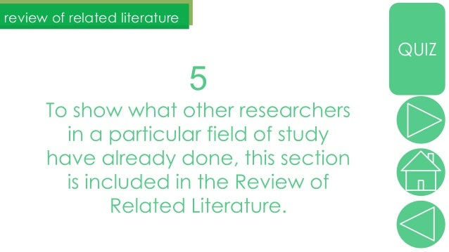 What is thesis writing review of related literature