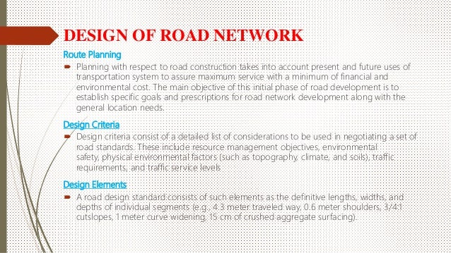 Review Of Road Network Design