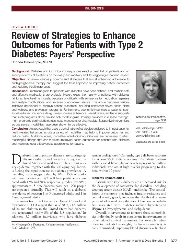 BUSINESSREVIEW ARTICLEReview of Strategies to EnhanceOutcomes for Patients with Type 2Diabetes: Payers' PerspectiveRhonda ...