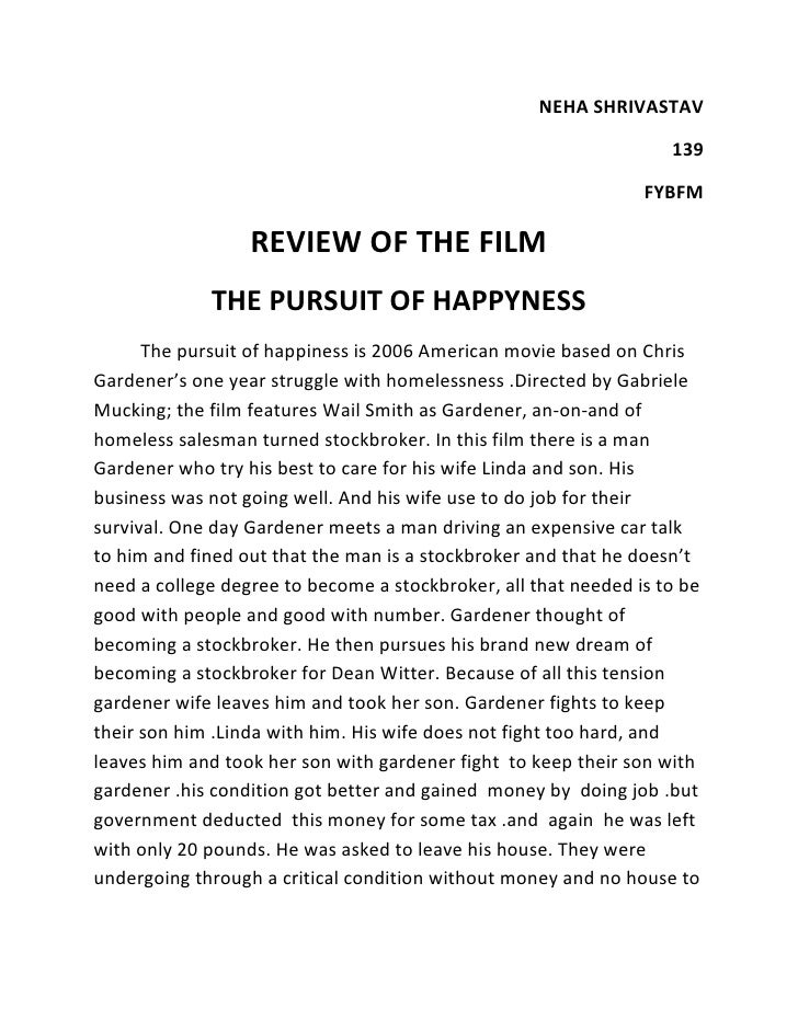 Pursuit of happyness analysis essay