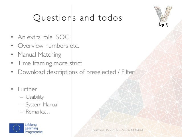 Questions and todos • An extra role SOC • Overview numbers etc. • Manual Matching • Time framing more strict • Downlo...