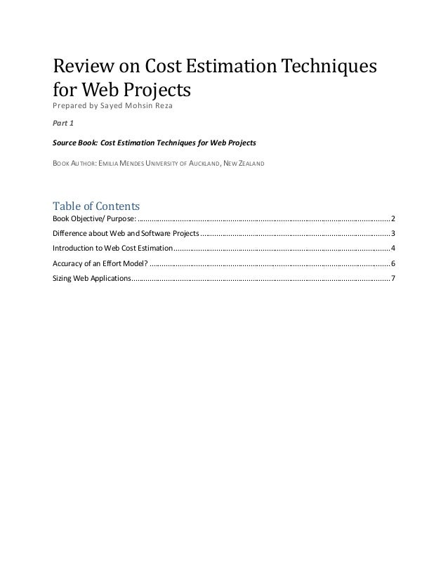 Cost Estimation Techniques for Web Projects