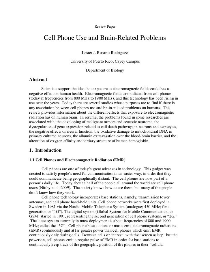 Review Paper         Cell Phone Use and Brain-Related Problems                                Lester J. Rosario Rodríguez ...