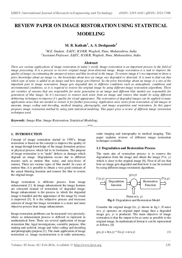 Review Paper On Image Restoration Using Statistical Modeling