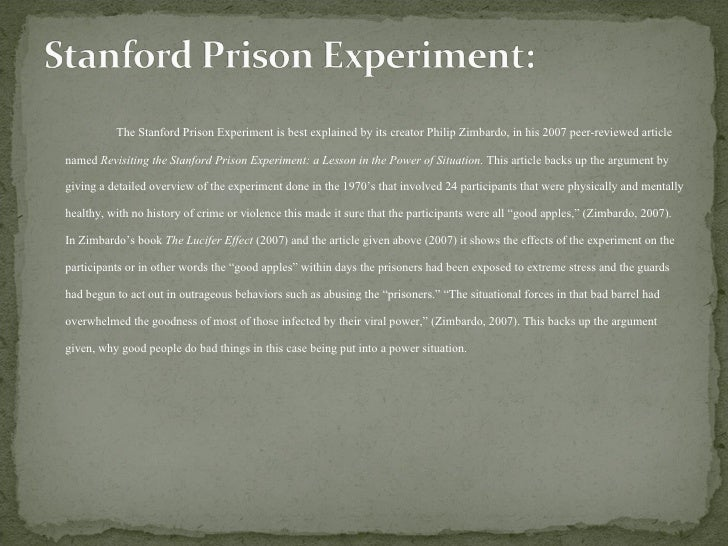 revisiting the stanford prison experiment The experiment was a documentary series broadcast on bbc television in 2002 produced by steve reicher and alex haslam in which 15 men are randomly selected to be .