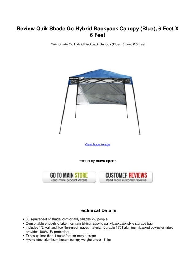 Review Quik Shade Go Hybrid Backpack Canopy (Blue) 6 Feet X6 FeetQuik Shade ...  sc 1 st  SlideShare & Review Quik Shade Go Hybrid Backpack Canopy Blue 6 Feet X 6 Feet