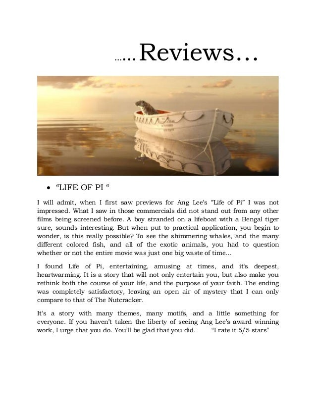 Reviews life of pi 2014 new year 39 s resolutions for Life of pi character development