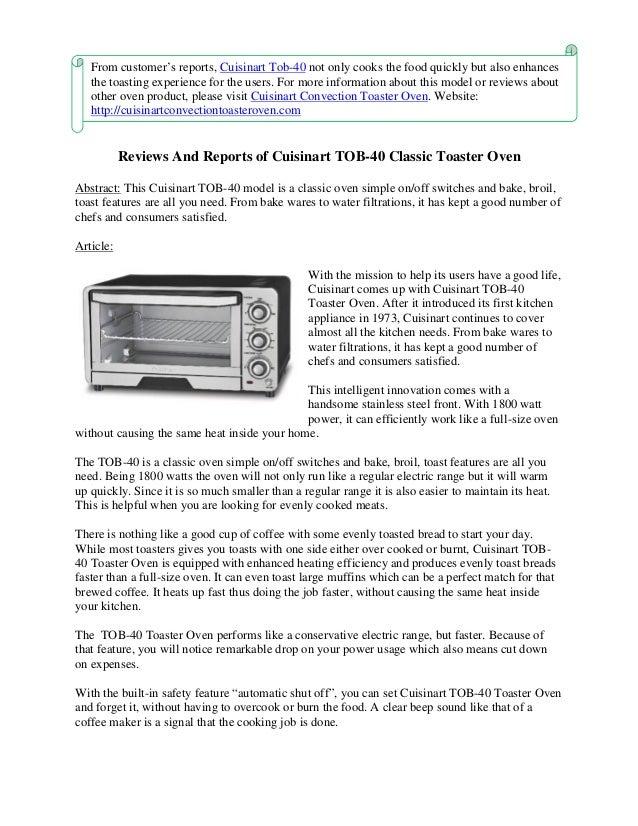 cuisinart toaster oven tob 40 manual