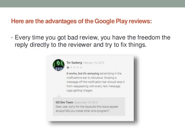 App Store Optimization Google Play - the Weight of Reviews