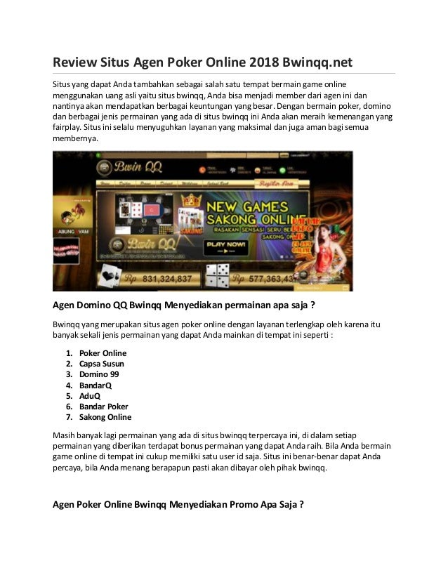 Review Situs Agen Poker Online 2018 Bwinqq