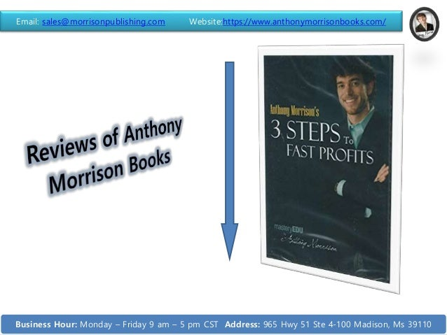 Email: sales@morrisonpublishing.com Website:https://www.anthonymorrisonbooks.com/ Business Hour: Monday – Friday 9 am – 5 ...