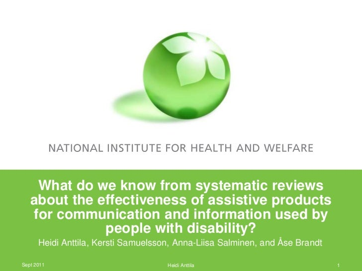 What do we know from systematic reviews   about the effectiveness of assistive products   for communication and informatio...