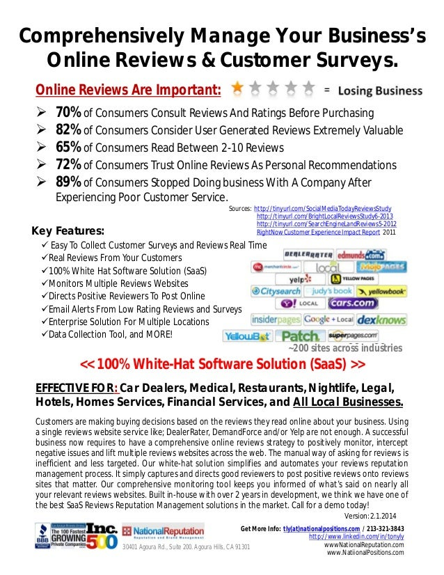Comprehensively Manage Your Business's Online Reviews & Customer Surveys. Online Reviews Are Important:       70% of ...