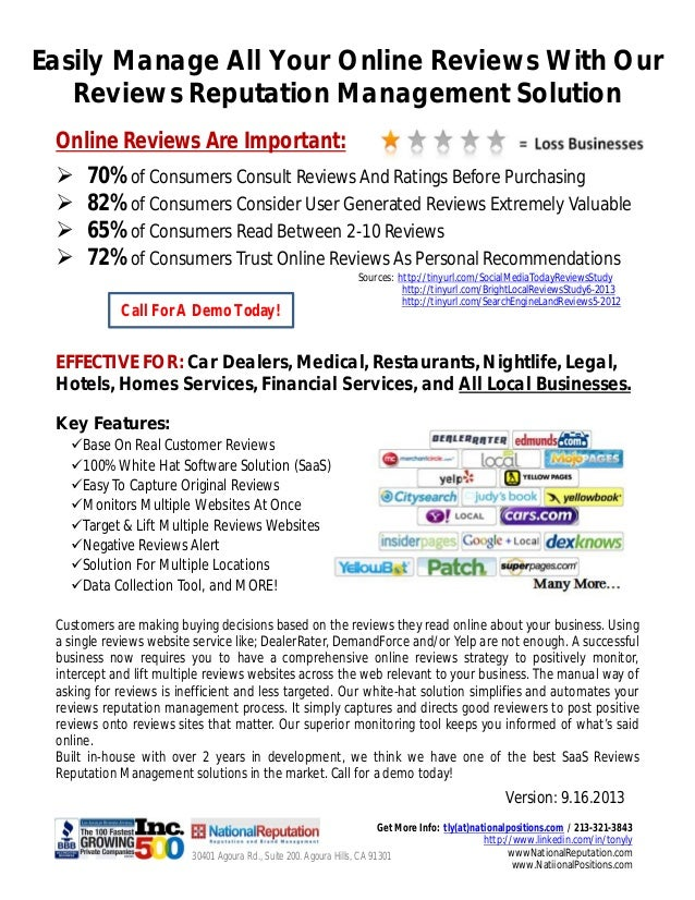 Easily Manage All Your Online Reviews With Our Reviews Reputation Management Solution EFFECTIVE FOR: Car Dealers, Medical,...