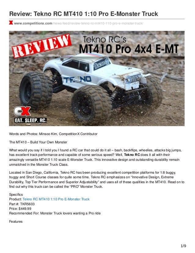 Review Tekno RC MT410 110 Pro E Monster Truck Petitionx