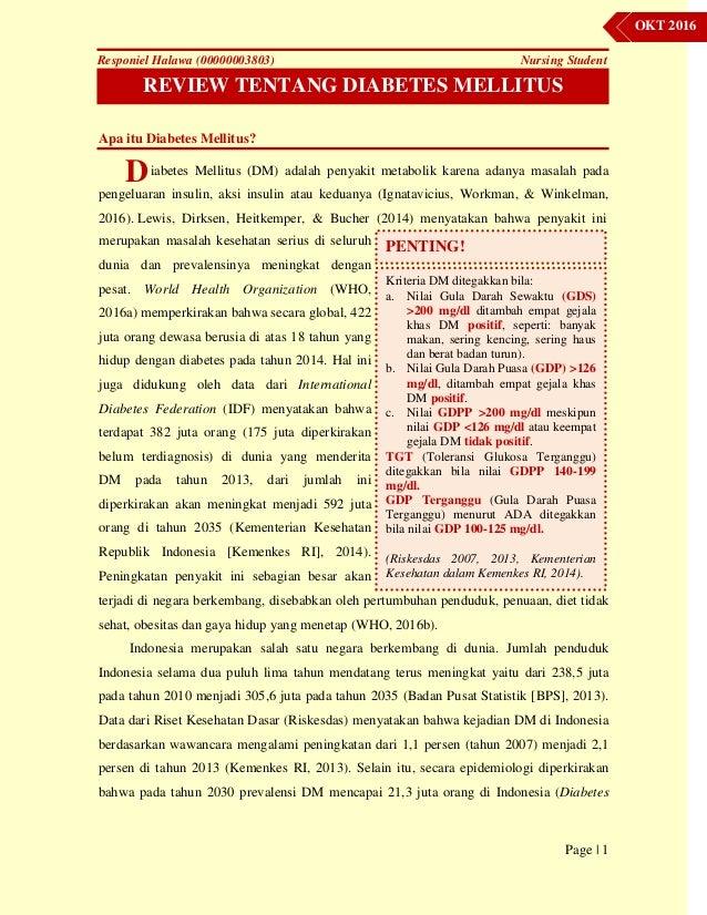 Review Tentang Diabetes Melitus Oktober 2016