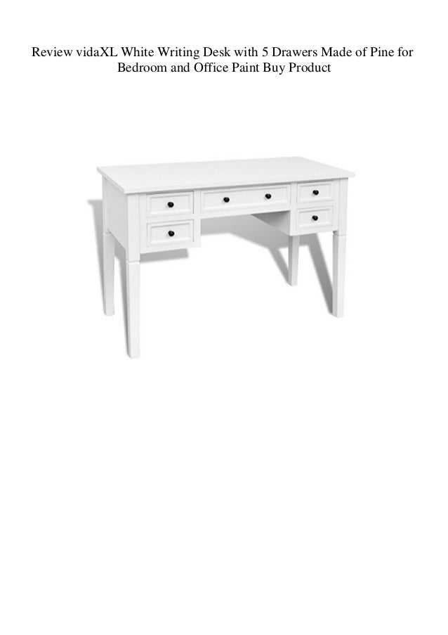 review vidaxl white writing desk with 5 drawers made of pine for bedr…