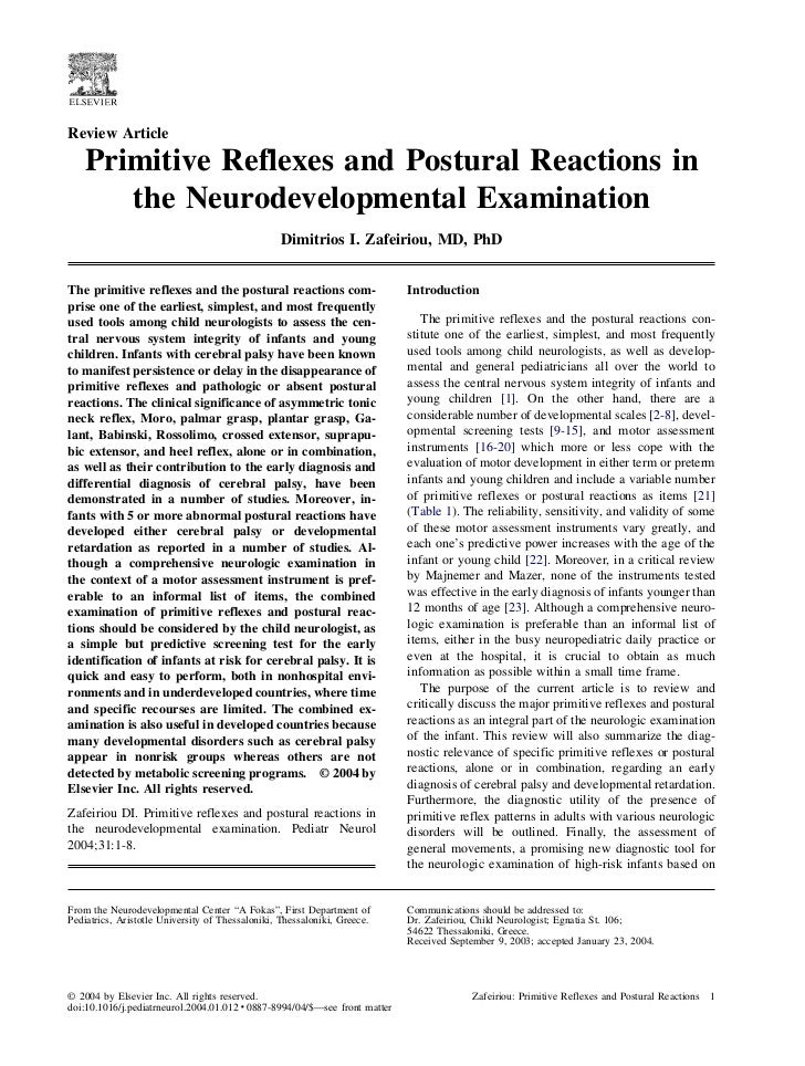 Review Article   Primitive Reflexes and Postural Reactions in      the Neurodevelopmental Examination                     ...