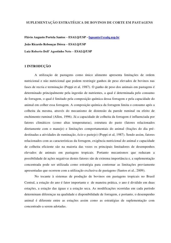 SUPLEMENTAÇÃO ESTRATÉGICA DE BOVINOS DE CORTE EM PASTAGENSFlávio Augusto Portela Santos – ESALQ/USP - fapsanto@esalq.usp.b...
