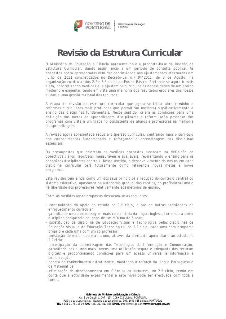 Revisã da Estrutura C      R    ão             Curric                               cular        ério da EducO Ministé    ...