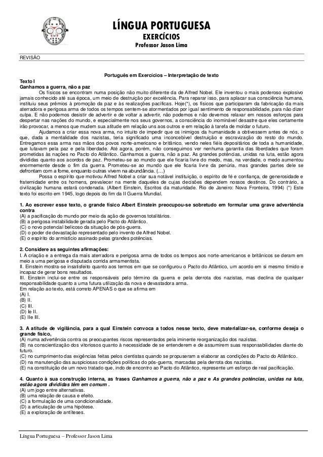 LÍNGUA PORTUGUESA EXERCÍCIOS Professor Jason Lima Língua Portuguesa – Professor Jason Lima REVISÃO Português em Exercícios...