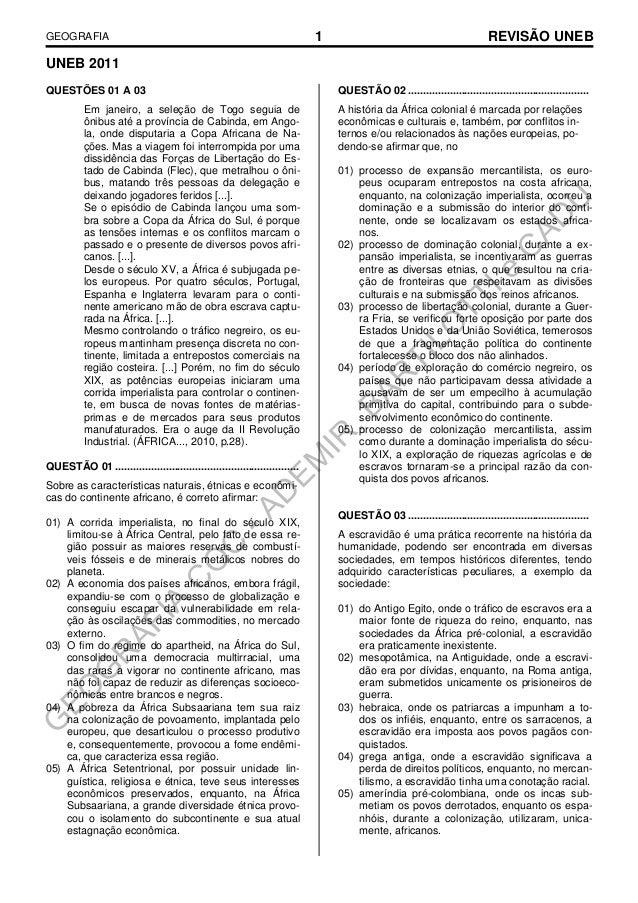 GEOGRAFIA  1  REVISÃO UNEB  UNEB 2011 QUESTÕES 01 A 03 Em janeiro, a seleção de Togo seguia de ônibus até a província de C...