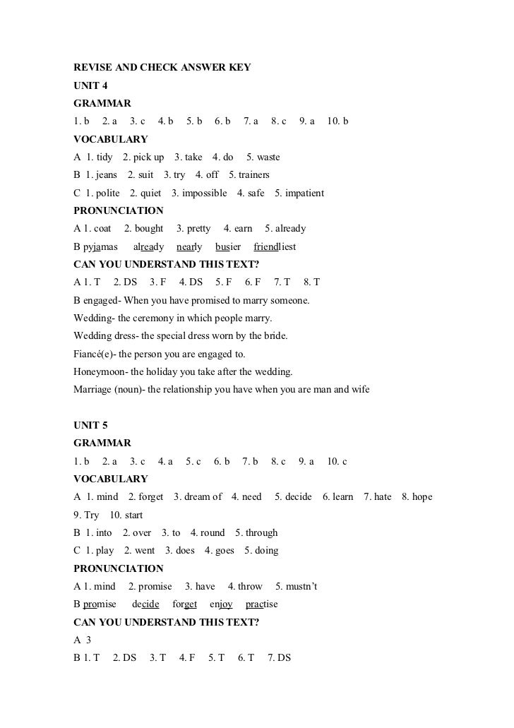 Revise And Check Answer Key Units 4 7