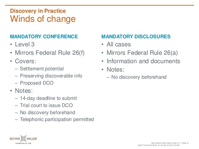 Discovery Of Information About Proposed >> Obtaining And Objecting To Written Discovery In Texas State Court