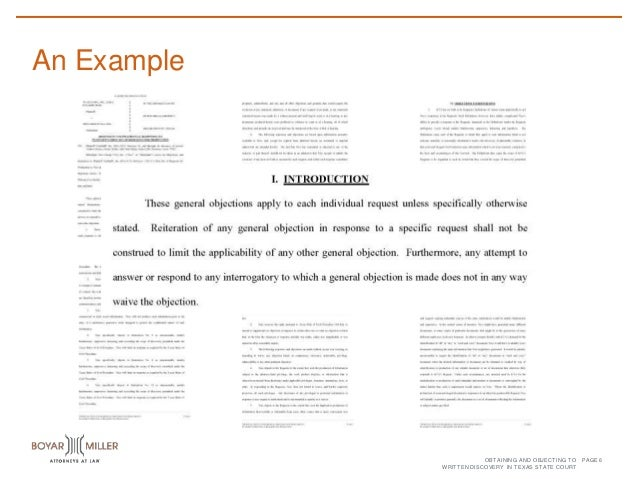 Page An Example 5obtaining And Objecting To Written Discovery In Texas State Court 6