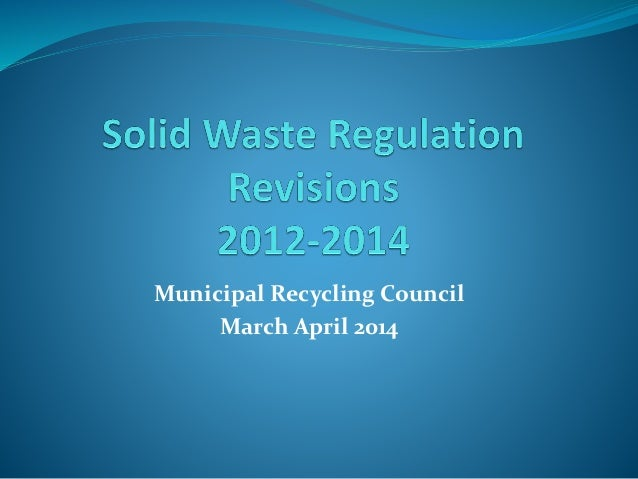 Municipal Recycling Council March April 2014