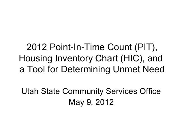 2012 Point-In-Time Count (PIT),Housing Inventory Chart (HIC), anda Tool for Determining Unmet NeedUtah State Community Ser...