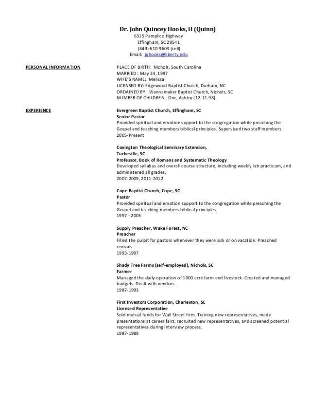 Revised 2013 church resume. Dr. John Quincey Hooks, II (Quinn)6315 Pamplico  HighwayEffingham, ...