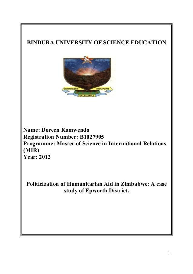 BINDURA UNIVERSITY OF SCIENCE EDUCATION Name: Doreen Kamwendo Registration Number: B1027905 Programme: Master of Science i...