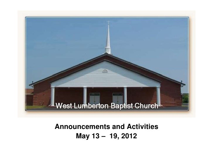 `Announcements and Activities     May 13 – 19, 2012