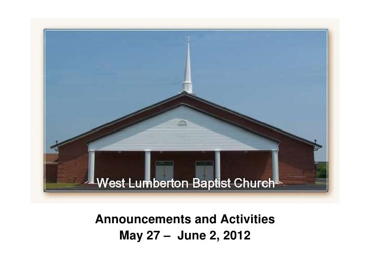 `Announcements and Activities   May 27 – June 2, 2012