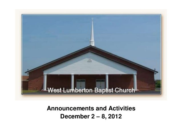`Announcements and Activities    December 2 – 8, 2012