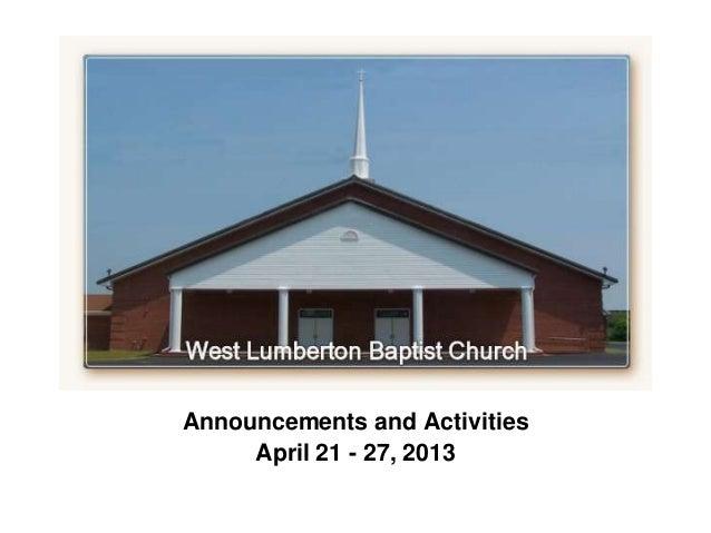 `Announcements and ActivitiesApril 21 - 27, 2013