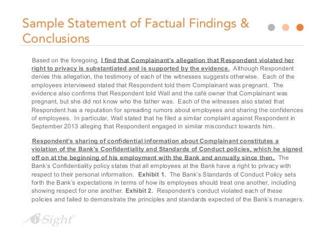sample investigation reports