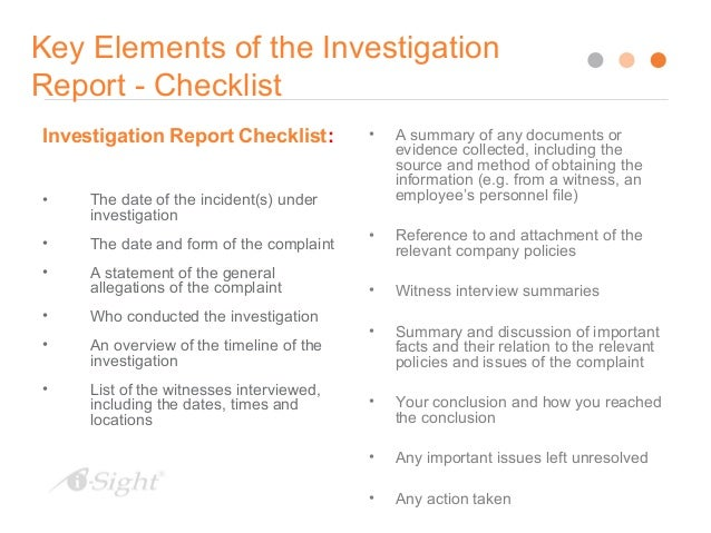 Writing Effective Investigation Reports
